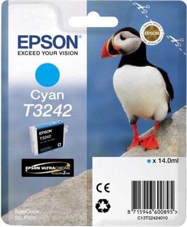 Картридж Epson T3242 (C13T32424010) голубой оригинальный