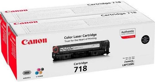 Тонер-картридж 718Bk2P для Canon двойной