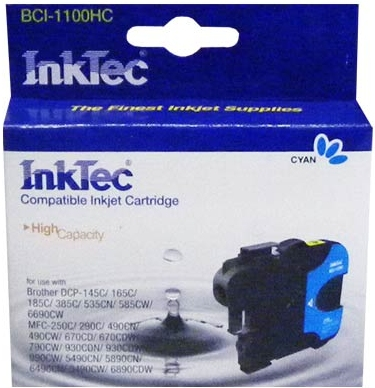 Картридж совместимый InkTec 1100С голубой для BROTHER