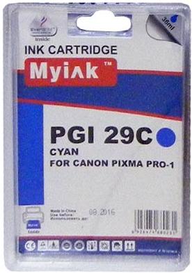 Картридж совместимый MyInk PGI-29C голубой для Canon