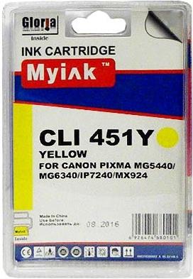 Картридж совместимый MyInk CLI-451XLY желтый для Canon