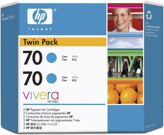 Картридж HP № 70 голубой двойная упаковка оригинальный