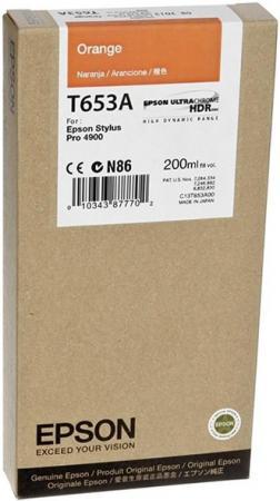 Картридж EPSON C13T653A00 оранжевый оригинальный