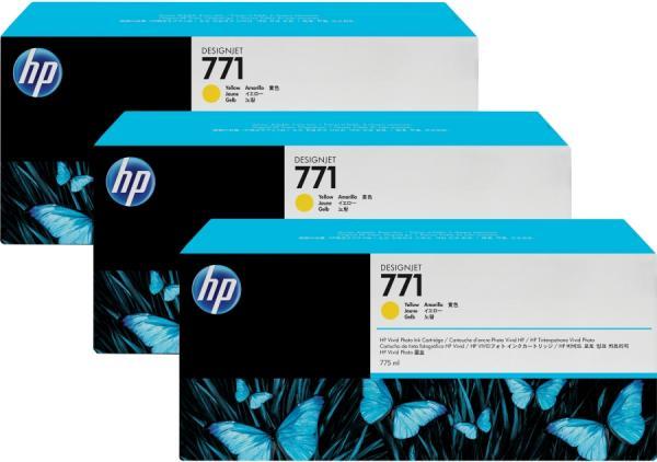 Картридж HP № 771 желтый тройная упаковка оригинальный
