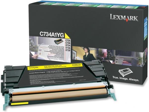 Картридж Lexmark C734A1YG желтый оригинальный