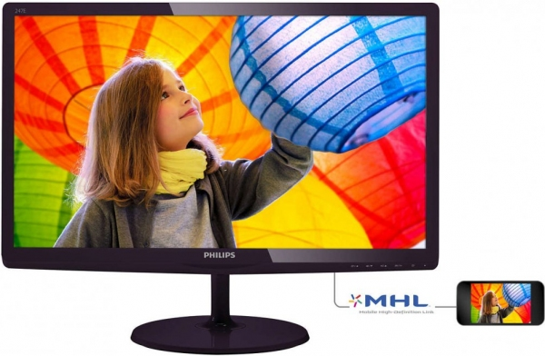 "Монитор 23.6"" Philips 247E6LDAD/00(01) Black-Cherry"