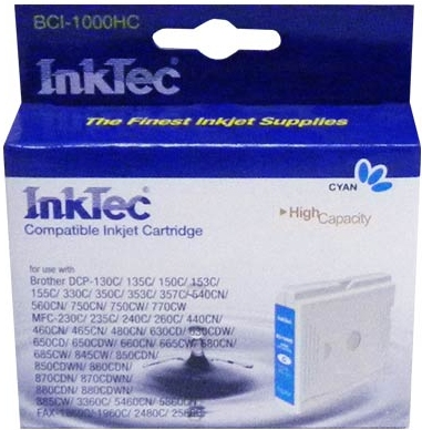 Картридж совместимый InkTec 1000C голубой для Brother
