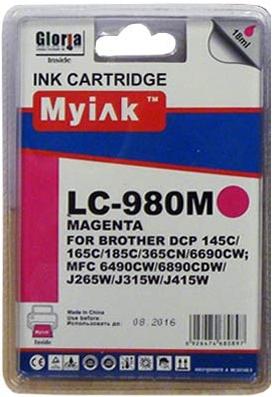 Картридж совместимый MyInk LC980M красный для Brother