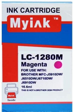 Картридж совместимый MyInk LC1280XLM красный для Brother