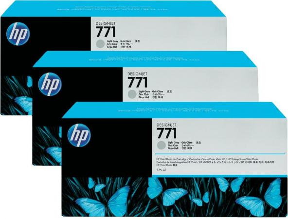 Картридж HP № 771 светло-серый тройная упаковка оригинальный