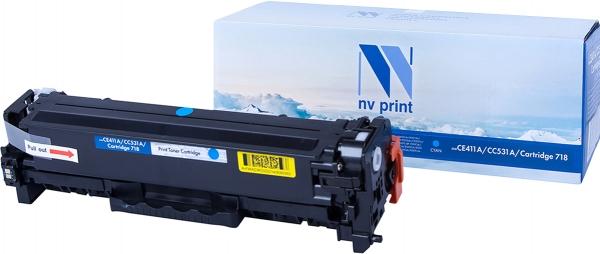 Картридж совместимый NVPrint CE411A/CC531A/Canon 718 для HP и Canon голубой