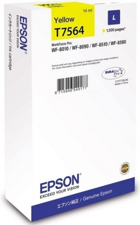 Картридж Epson T7564 (C13T756440) желтый оригинальный