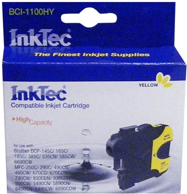 Картридж совместимый InkTec 1100Y желтый для BROTHER