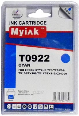 Картридж совместимый MyInk T0922 синий для Epson