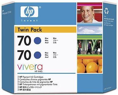 Картридж HP № 70 синий двойная упаковка оригинальный