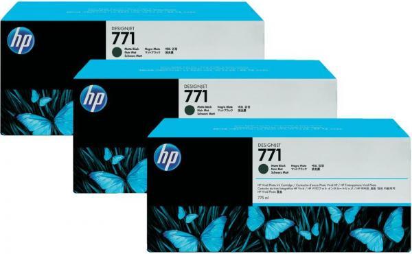 Картридж HP № 771 черный матовый тройная упаковка оригинальный