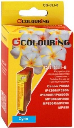 Картридж совместимый Colouring CLI-8C для Canon голубой с чипом