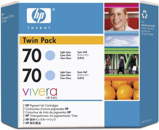 Картридж HP № 70 светло-голубой двойная упаковка оригинальный