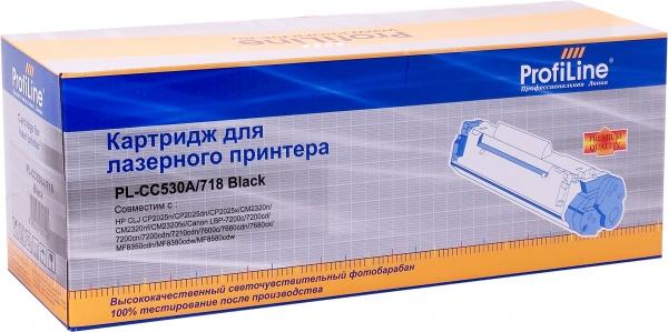 Картридж совместимый ProfiLine CC530A/718 Black для HP