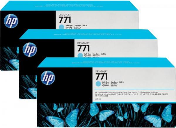 Картридж HP № 771 светло-голубой тройная упаковка оригинальный