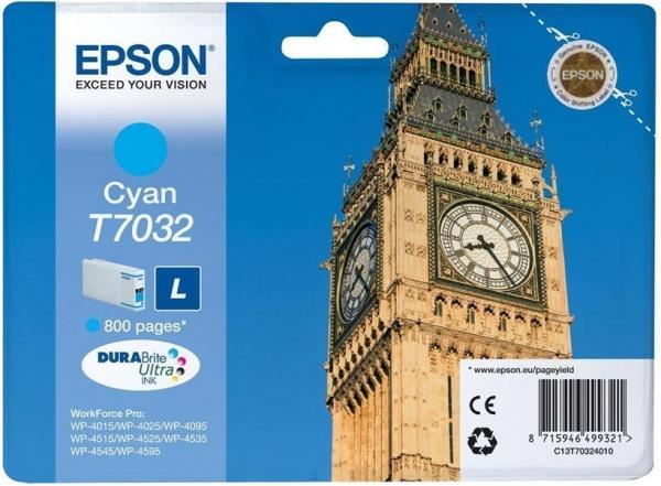 Картридж Epson T7032 (C13T70324010) голубой оригинальный